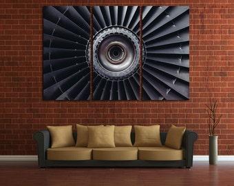 Turbine Wall Art Multi Panels Set Engine Wall Art Engine Canvas Art Aircraft Wall Art Air Turbine Print Poster JetsTurbine Wall Decor