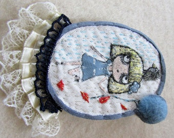 embroidered brooch, painted brooch, fabric brooch, corsage pin, brooch, cute pin,  cute idea, a pretty little thing