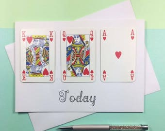 21st Birthday Card - 21st Birthday - 21st Card - 21st - 21st Birthday For Him - Playing Cards - Playing Cards Card - Queen of Hearts Card