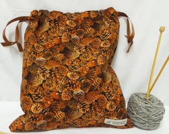 Pinecone Knitting Bag, Crochet Bag, Yarn Bag, Project Bag, Tote bag, Drawstring bag, Knitting Tote, Sock knitting bag