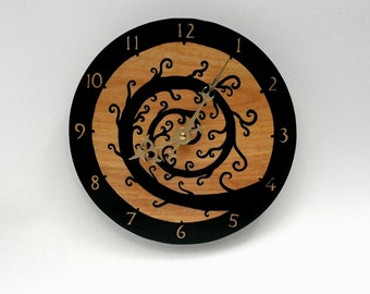 Black Spiral Clock, Small Hand Painted Wall Clock