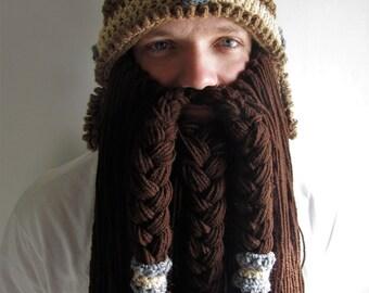 Viking dwarf beard hat helmet/ build a beard/ dwarf warrior beard beanie/ adult crochet medieval beanie/ cosplay beard hat/ d&d beard cap