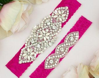 Hot Pink Wedding Garter Set, Hot Pink Garter Belt, Wedding Garter Set, Bridal Garter Set, Lace Garter Set, Hot Pink Lace Garter Set, 15-1A