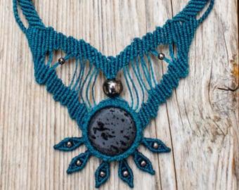 Macrame necklace Tribal Lava stone