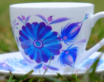 Flower Painted tea MUG Gift, Unique Tea Mug, Cappuccino Mug Pottery, Gift for Her, Gift for Mother, Housewares Gift