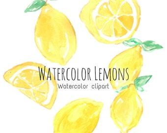 Watercolor Clip Art Set - Lemon Clip Art - Food Clip Art - Watercolor Fruit - Commercial Use