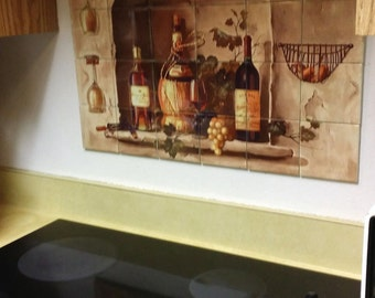 Hangable Tile Mural / Kitchen Backsplash / Kitchen Art / Kitchen Decor /  Tile Art /