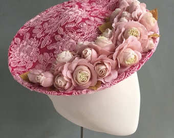 Races Saucer, Occasion Headpiece, Percher Headpiece, Headpiece with Lace and Silk Roses, Wedding Hat, Mother of the Bride Hat