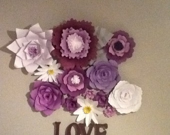 Elegant paper wall flowers,set of 9