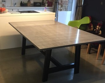 Concrete Table Etsy - Concrete dining room table