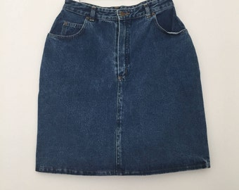 Vintage denim skirt / high waisted skirt / midi skirt / short skirt / jeans skirt / 80s skirt / 80s clothing / mini skirt / blue skirt