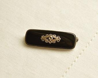 Antique Black ONYX Silver Brooch, Edwardian Silver Brooch, Antique Brooch, Onyx Brooch, Onyx Jewelry