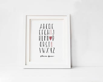 Personalized Alphabet Wall Art,  Unique Nursery Gift, Digital Nursery Print,  Digital Download, Baby Shower Gift