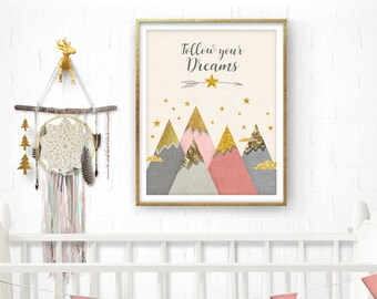 Mountains nursery printable, Woodland nursery, Nursery Pink Decor, Baby Girl Gift, Nursery Prints, Mountains, Pink Wall Art, New Baby Gift