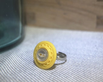 Yellow and White Button Ring