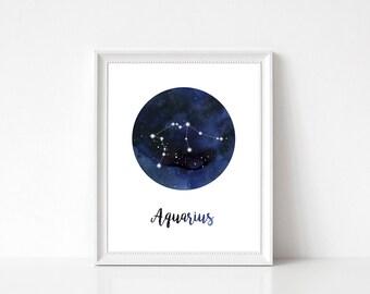 Aquarius Constellation Print, Aquarius Print, Zodiac Print, Zodiac Constellation Print, Aquarius Wall Decor, Aquarius Wall Art, Zodiac Decor