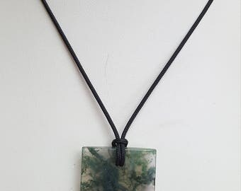 Moss Agate Pendant Necklace, Free Shipping (E17046), Moss Agate Necklace