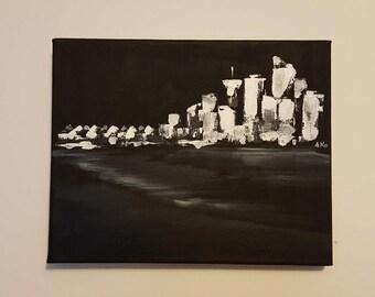 "Vancouver skyline [black & white] 8x10"" original palette knife acrylic painting"