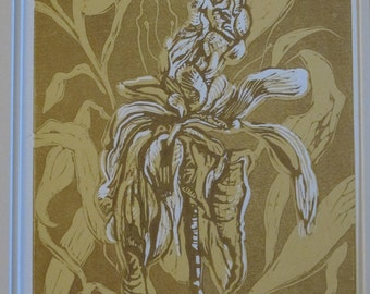 Unframed Reduction Linocut Peony #1 (mat not included)