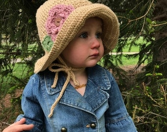 Crochet Floppy Sunhat with Ties, Flower and Button Center, Baby/child/kids/adults