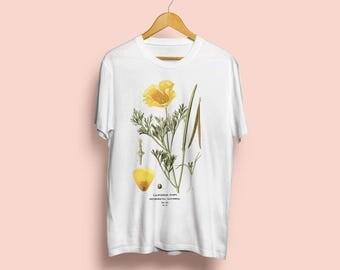 Californian Poppy Unisex T-Shirt - Botanical Illustration, Botanical Art, Botany, Flower Tshirt, Rosa Foetida, Vintage Art, S M L XL XXL