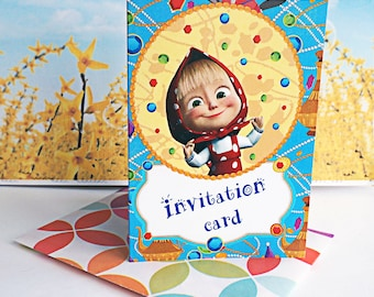 10 pcs invitation card +10 envelopes Masha and the Bear  for a holiday party favor birthday  cartoon series to children's  surprise baby