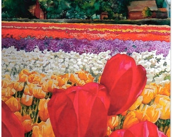 Tulips-Woodland, WA Watercolor Painting Print by Lee Baughman, 16X14 art,  floral watercolor print, red yellow gifts under 60