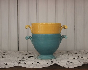 Vintage Fiesta Sugar Bowls - Yellow and Turquoise. FREE SHIPPING!