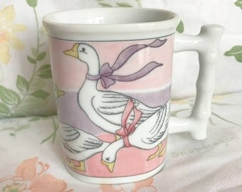 Pastel Goose Mug vintage ceramic retro coffee cup ribbon bow swan shabby chic kitsch kitschy bird geese 90's kitchen purple cute pink girly