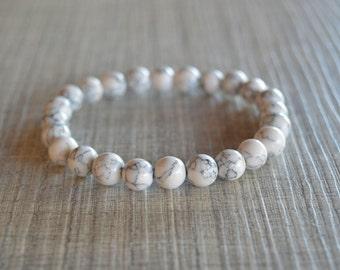 Men's Bracelet - Men howlite Bracelet - Men's Jewelry - Men Bracelet - minimal bracelet men - Men's Gift  jewelry beaded bracelet minimalist