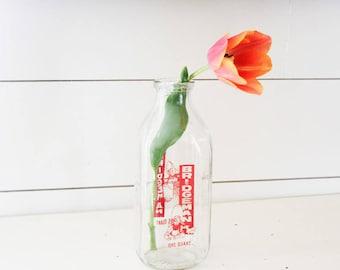 Vintage milk bottle, vintage Bridgeman quart milk bottle, retro milk bottle, quart milk bottle, vintage glass milk bottle, vintage bottle
