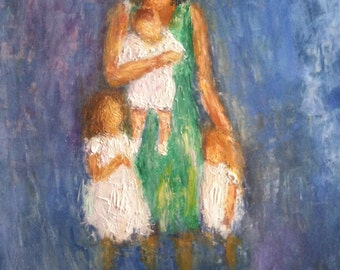 Family Portrait, Oil Painting on Board, Painting by Catherine, Nature and Inspirational Paintings, Portrait Paintings