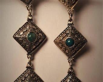 Sterling Silver Green Stone Art Deco Drop Earrings