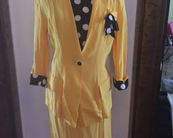 Yellow and black polka dot trimmed skirt suit