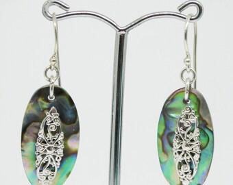 paua shell earring, 925 sterling silver earring, natural paua shell earrings, abalone with silver earrings