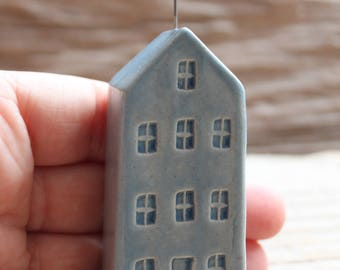 Ceramic Miniature Light Blue Tall House with Cloud - Ready to Ship