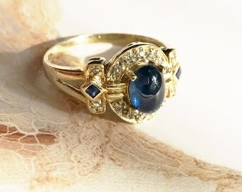 vintage 14k gold sapphire and diamond ring cocktail engagement ring princess kate middleton - Princess Kate Wedding Ring
