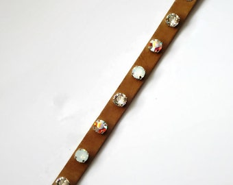 Swarovski crystal beige leather bracelet with clear crystal, white opal and clear crystalAB 8mm stones,girly absolutely lovely