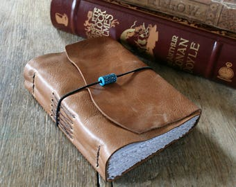 """Leather Journal """"Nothing is impossible, the very word says I'm possible"""" - Audrey Hepburn . handmade handbound . tan / honey brown (320 pgs)"""