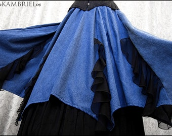 Spring Sale! - Batwing Hemmed Skirt - Vintage Blue Chambray & Black Flounces - One of a Kind and Ready to Ship!