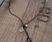 TINY Cross Necklace, Black Chain Delicate Oxidized Sterling Silver, Rutilated Quartz, White Pearl, Edge Edgy Charm Cross Pendant