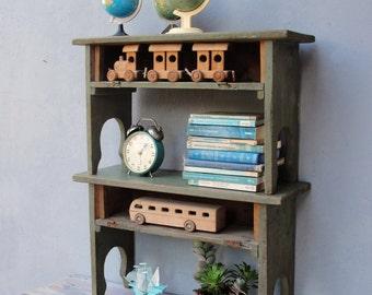Vintage Wooden Shelf, Stackng shelves 1930's Shabby Cottage Chic Rustic, Bookshelf, Home Organizer Furniture, Bed side tables
