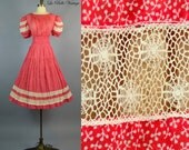 Spiderweb Crochet Lace ~ Vintage 1940s Sheer Red Voile Swing Dress L ~ Huge Puff Sleeves