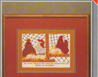 "Vintage Counted Cross Stitch Pattern Leaflet Titled ""Hen Party"".  Nesting Hens. Country Home Decor. Funny Saying. By Yours Truly 1982"