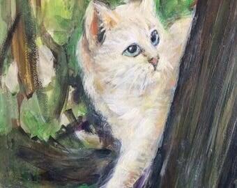 """Original Painting - Wall Art - Cat Art - 8"""" x 10"""" Acrylic"""