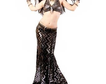 Skirt, YOUR SIZE, Mermaid, Black & Dark Silver SEQUINS, Stretchy, Tribal, Fusion Bellydance, Dark Bridal, Cabaret, Goth, Cocktail, Boutique