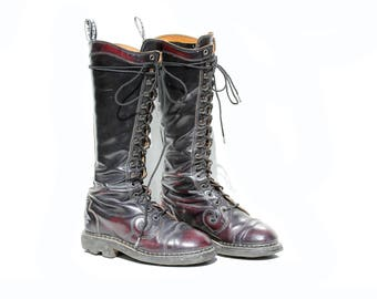 Dark Burgundy Leather Tall Lace Combat Boots / size 6.5