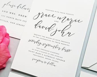 NEW Grace Modern Calligraphy Script Wedding Invitation Sample