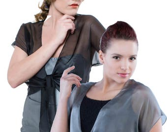 Evening Minimalist Chic Shrug GALA. 100% silk 50 colors/ Sizes XS - 2X