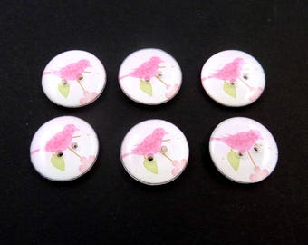 6 Handmade Buttons - Pink Bird with pink Blossoms Design.  Decorative Novelty Sewing Buttons. Washer and Dryer Safe.